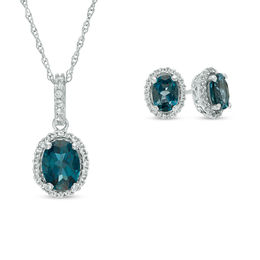Oval London Blue and White Topaz Frame Pendant and Earrings Set in Sterling Silver