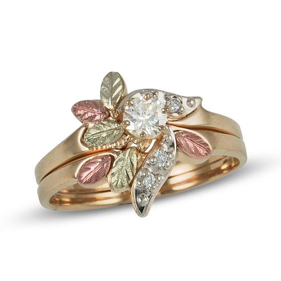 Black Hills Gold 1 5 Ct T W Diamond Leaf Bridal Set