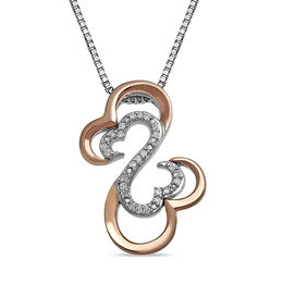 Open Hearts by Jane Seymour™ Diamond Accent Layered Pendant in Sterling Silver and 10K Rose Gold