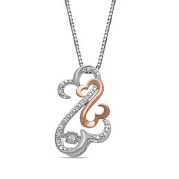 Open Hearts Rhythm by Jane Seymour™ Diamond Accent Pendant in Sterling Silver and 10K Rose Gold