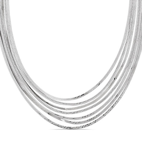 Polished Seven Strand Herringbone Necklace In Sterling
