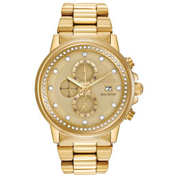 Ladies' Citizen Eco-Drive® Nighthawk Crystal Accent Gold-Tone Chronograph Watch (Model: FB3002-53P)