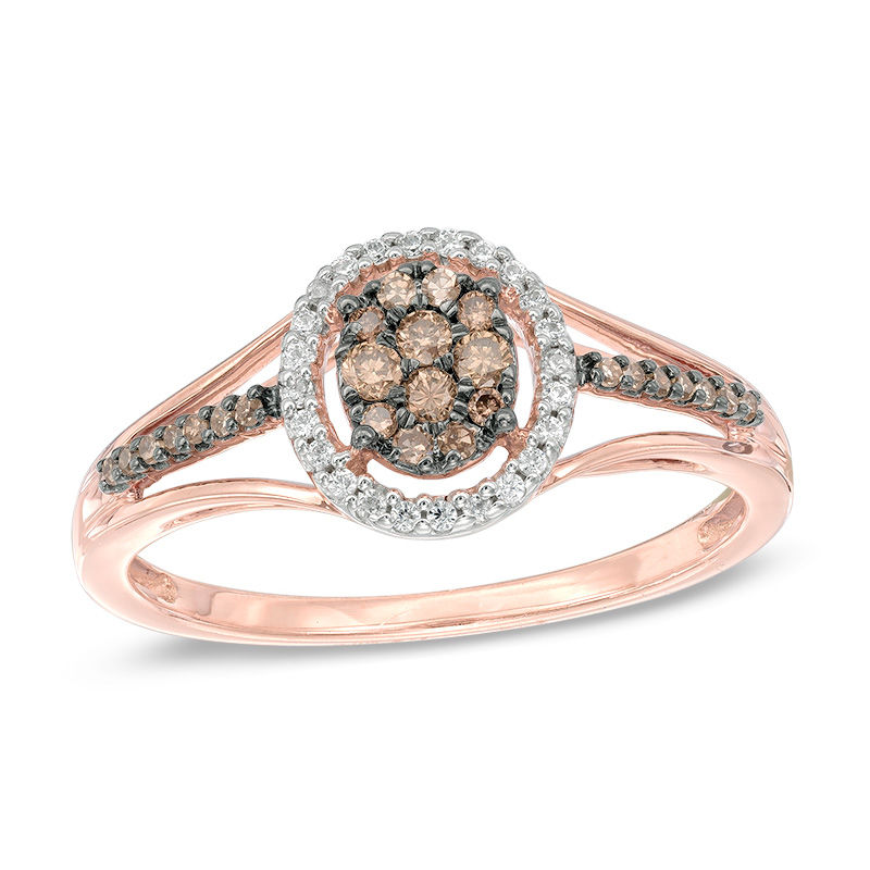 Zales 1/10 CT. T.w. Champagne and White Diamond Frame Promise Ring in 10K Rose Gold