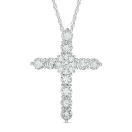 1/2 CT. T.W. Diamond Cross Pendant in 10K White Gold