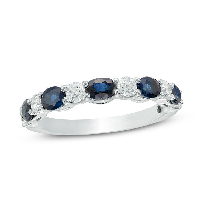Vera Wang Love Collection Oval Blue Sapphire And 3 8 CT TW Diamond Alternating