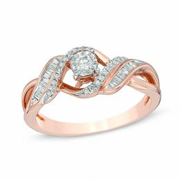 1/4 CT. T.W. Diamond Twist Bypass Ring in 10K Rose Gold