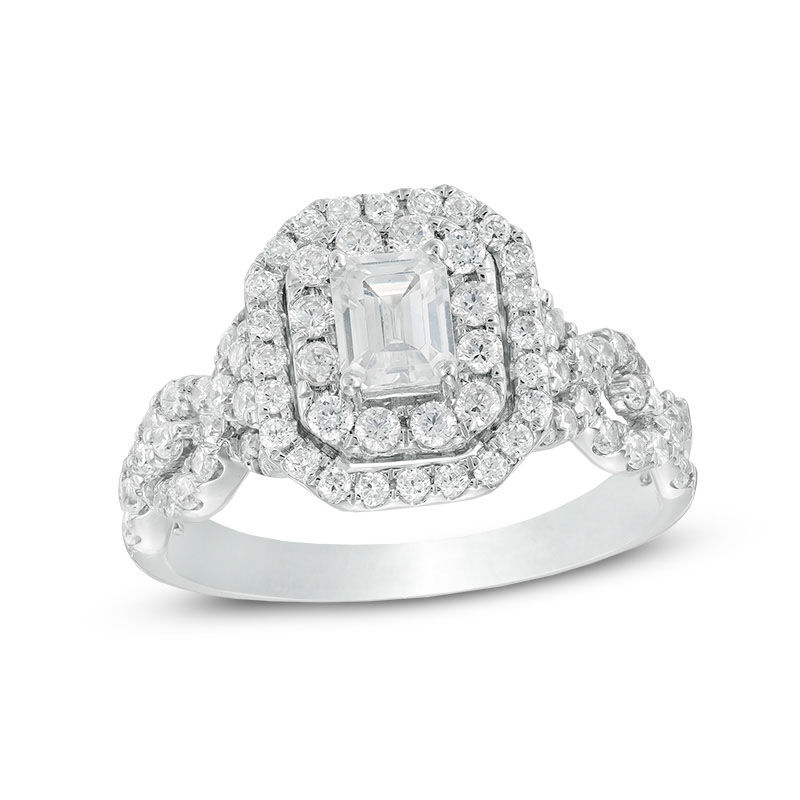 41c9e5a8dae46 Celebration Ideal 1-1/2 CT. T.W. Emerald-Cut Diamond Frame Engagement Ring  in 14K White Gold (I/I1)|Zales