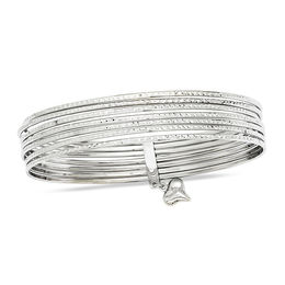 11.0mm Diamond-Cut Multi-Row Slip-On Bangle with Heart Charm in 14K White Gold - 8.0""