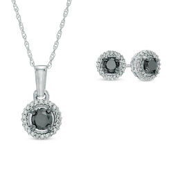 3/4 CT. T.W. Enhanced Black and White Diamond Frame Pendant and Earrings Set in 10K White Gold