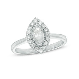 3/4 CT. T.W. Marquise Diamond Frame Engagement Ring in 10K White Gold