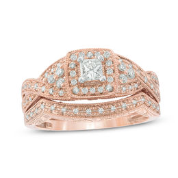 b835805a7 ... Rose Gold · 1/2 CT. T.W. Diamond Square Frame Vintage-Style Bridal Set  in 14K ...