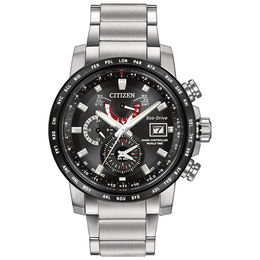 Men's Citizen Eco-Drive® World Time A-T Watch with Black Dial (Model: AT9071-58E)
