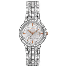 Ladies' Citizen Eco-Drive® Silhouette Crystal Watch With Silver-Tone Dial (Model: EW2340-58A)