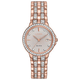 Ladies' Citizen Eco-Drive® Silhouette Crystal Rose-Tone Watch With Silver-Tone Dial (Model: EW2348-56A)