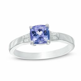 6.0mm Cushion-Cut Tanzanite and Diamond Accent Ring in Sterling Silver
