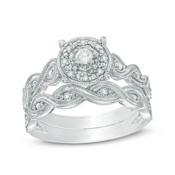 Zales 1/4 CT. T.w. Diamond Medallion Cluster Bridal Set in Sterling Silver kv6j3G
