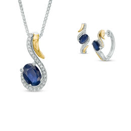 Oval Blue Sapphire and 1/5 CT. T.W. Diamond Swirl Pendant and Hoop Earrings Set in Sterling Silver and 14K Gold