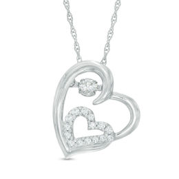 Unstoppable Love™ 1/8 CT. T.W. Diamond Double Tilted Heart Pendant in Sterling Silver