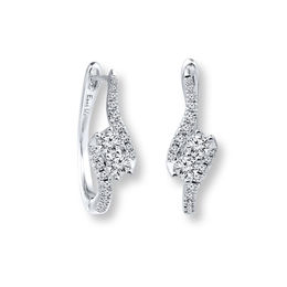 Ever Us™ 5/8 CT. T.W. Two-Stone Diamond Bypass Hoop Earrings in 14K White Gold