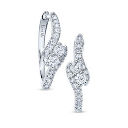 Ever Us™ 3/8 CT. T.W. Two-Stone Diamond Swirl Hoop Earrings in 14K White Gold
