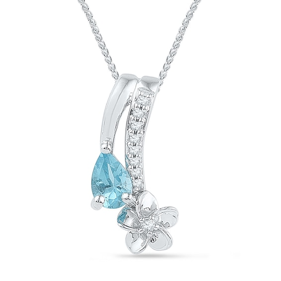 Pear-Shaped Blue Topaz and Diamond Accent Flower Drop Pendant in
