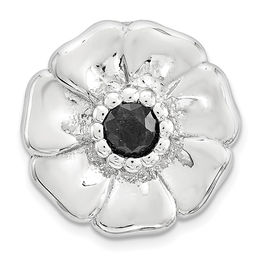 Stackable Expressions™ 3.0mm Black Sapphire Small Flower Charm in Sterling Silver