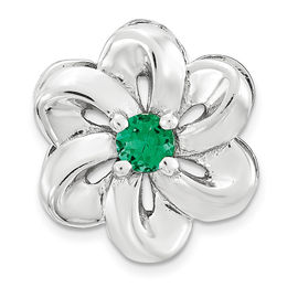 Stackable Expressions™ 3.0mm Lab-Created Emerald Small Flower Charm in Sterling Silver