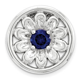 Stackable Expressions™ 3.5mm Lab-Created Blue Sapphire Small Daisy Charm in Sterling Silver