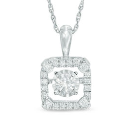 Unstoppable Love™ 1/3 CT. T.W. Diamond Square Frame Pendant in 10K White Gold