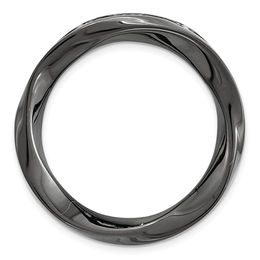 Stackable Expressions™ Swirl Circle Medium Slide Charm in Black Rhodium-Plated Sterling Silver