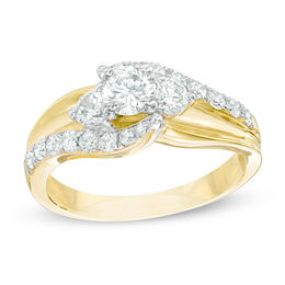 1 CT. T.W. Diamond Bypass Past Present Future® Engagement Ring in 14K Gold