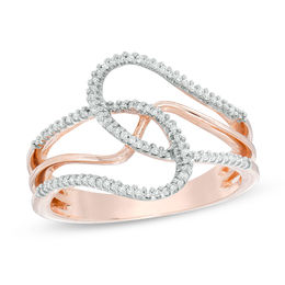 1/6 CT. T.W. Diamond Abstract Loop Ring in 10K Rose Gold