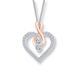 Ever Us™ 1/4 CT. T.W. Two-Stone Diamond Heart with Infinity Pendant in 14K Two-Tone Gold - 19""