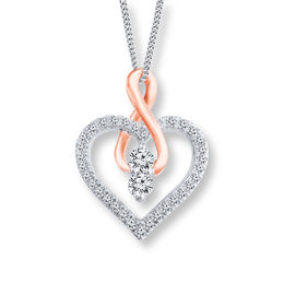 Ever Us™ 1/2 CT. T.W. Two-Stone Diamond Heart with Infinity Pendant in 14K Two-Tone Gold - 19""