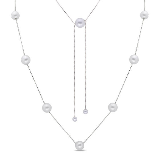Zales 5.0 - 11.5mm Cultured Freshwater Pearl Station Necklace in Sterling Silver - 36 gBWEIYFJ