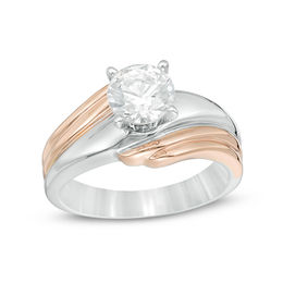 1 CT. Diamond Solitaire Bypass Engagement Ring in 14K Two-Tone Gold