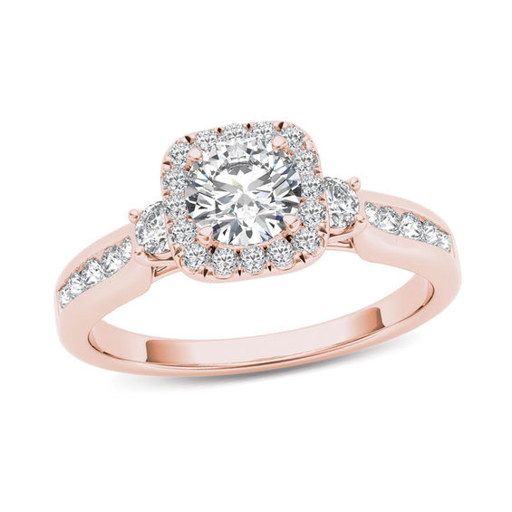 7 8 CT T W Diamond Cushion Frame Engagement Ring in 14K Rose Gold