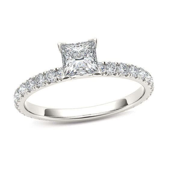 1 Ct T W Princess Cut Diamond Engagement Ring In 14k White Gold