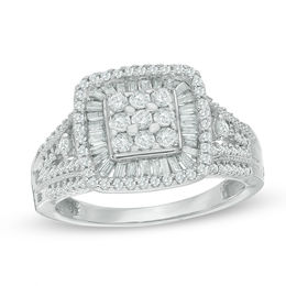 1 CT. T.W. Composite Diamond Square Frame Ring in 10K White Gold