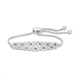 Amethyst and Diamond Accent Alternating Hearts Bolo Bracelet in Sterling Silver - 9.5""