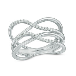 Lab-Created White Sapphire Double Orbit Ring in Sterling Silver - Size 7