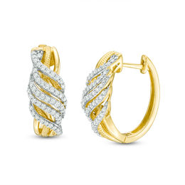 1/2 CT. T.W. Diamond Swirl Vintage-Style Hoop Earrings in 10K Gold