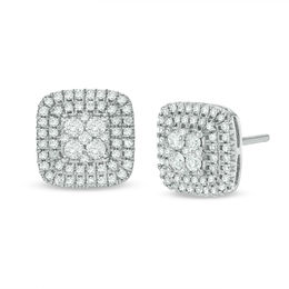 T W Composite Diamond Cushion Stud Earrings In 10k White Gold