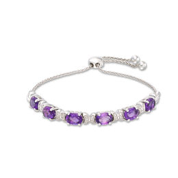Oval Amethyst and 1/10 CT. T.W. Diamond Five Stone Bolo Bracelet in Sterling Silver - 9.5""