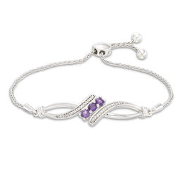 Amethyst and 1/10 CT. T.W. Diamond Three Stone Bypass Bolo Bracelet in Sterling Silver - 9.5""