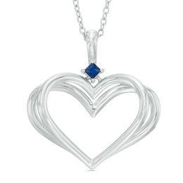 The Kindred Heart from Vera Wang Love Collection Blue Sapphire Pendant in Sterling Silver