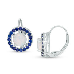 6.0mm Lab-Created Opal and Blue Sapphire Frame Drop Earrings in Sterling Silver