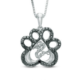 Open Hearts by Jane Seymour™ Enhanced Black and White Diamond Accent Paw Pendant in Sterling Silver