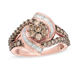 1/2 CT. T.W. Composite Champagne and White Diamond Whirlwind Split Shank Ring in 10K Rose Gold