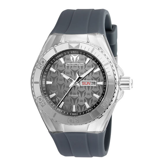 Mens TechnoMarine Monogram Cruise Silicone Strap Watch with Grey